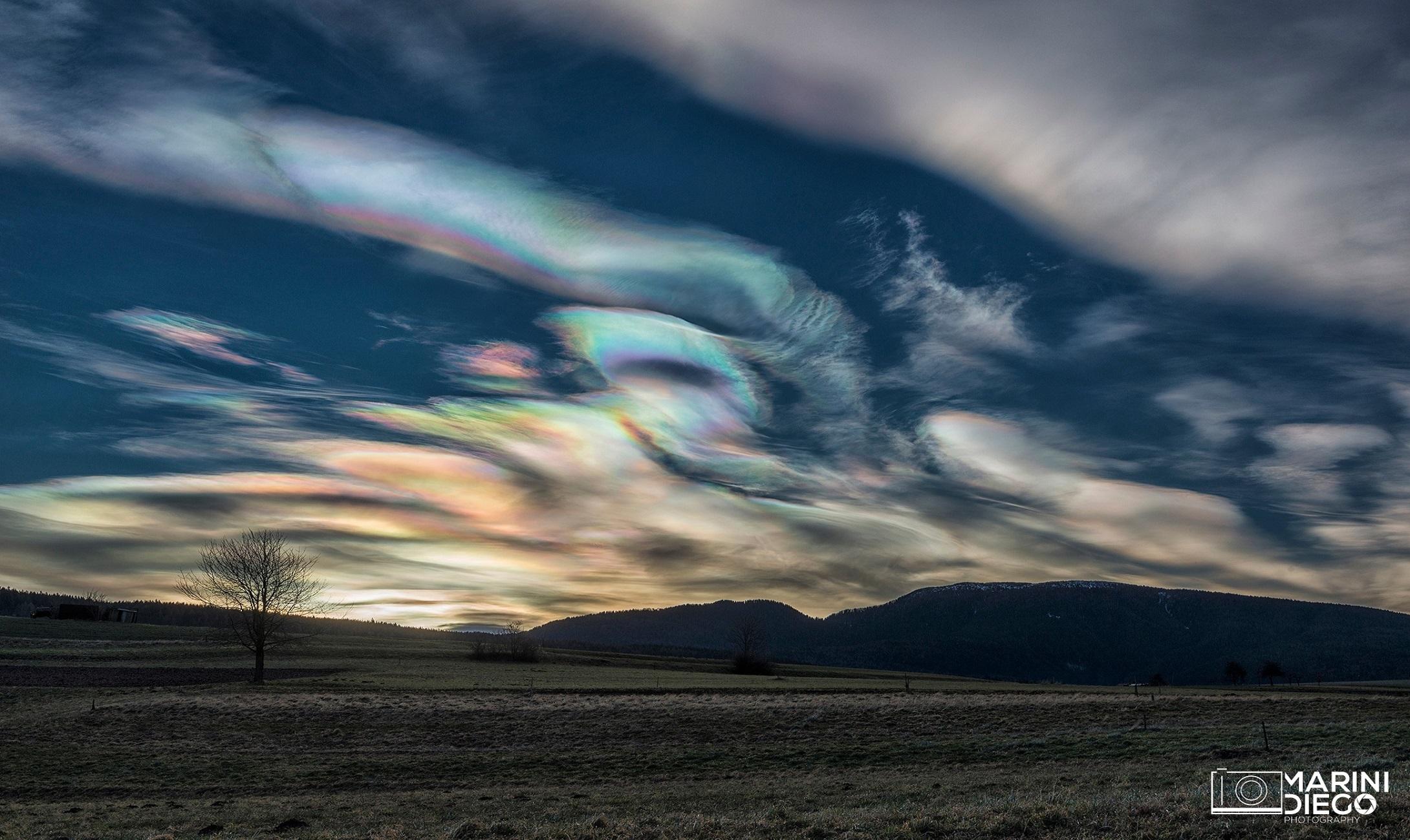 Nuvole arcobaleno ai Pradiei di Fondo